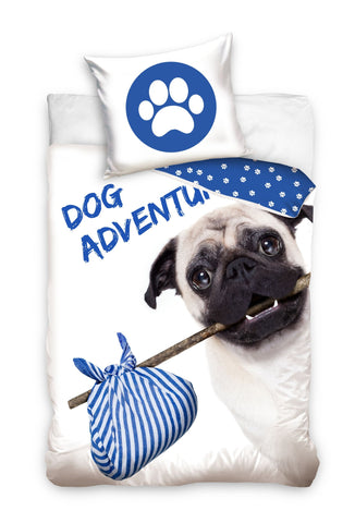 Single Bedding Set with Pug Dog - Blue - Amazing Curtains