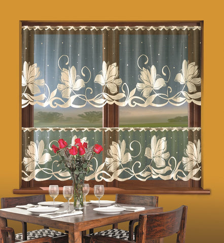 Jardiniere Cafe Net Curtain with Beige Flowers - Amazing Curtains