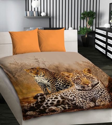 Amazing 3D Bedding Set with Pair of Leopards - Amazing Curtains