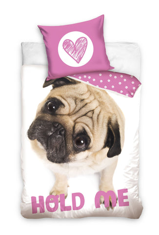 Single Bedding Set with Pug Dog - Pink - Amazing Curtains
