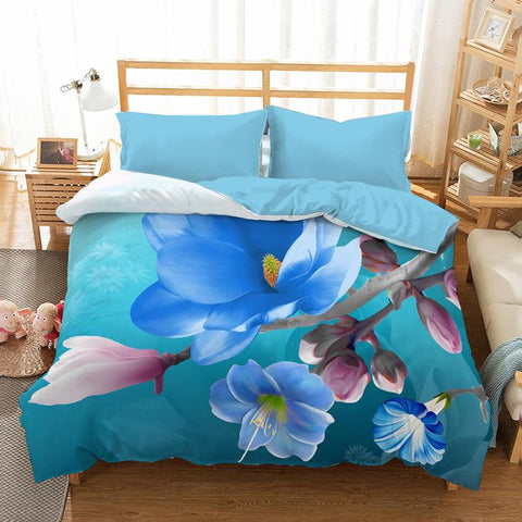 Blue 3D Bedding Set with Flowers - Amazing Curtains