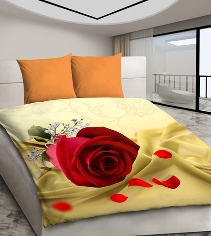 Modern 3D Bedding Set with Red Rose - Amazing Curtains