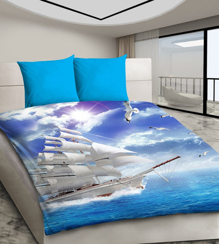 Ship Sailing on the Sea - 3D Bedding Set