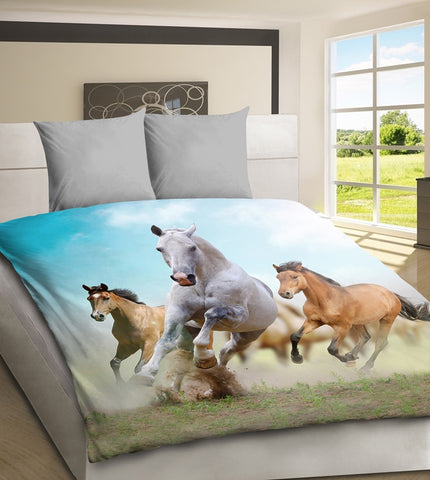 Running Horses - 3D Bedding Set - Amazing Curtains