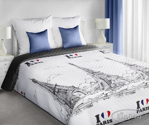 Modern Bedspread Eiffel Tower I Love Paris - Amazing Curtains
