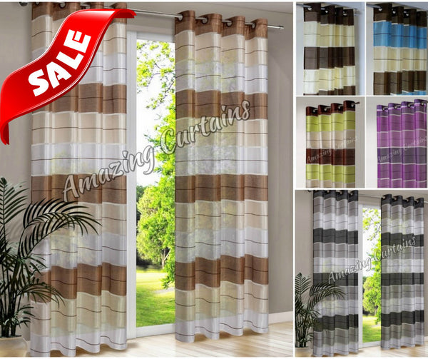Pair Ready Made Striped Curtains Eyelet Top Ring Voile Net Curtain Black Grey Ebay