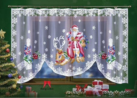 White jardiniere net curtain with Santa pattern - Amazing Curtains