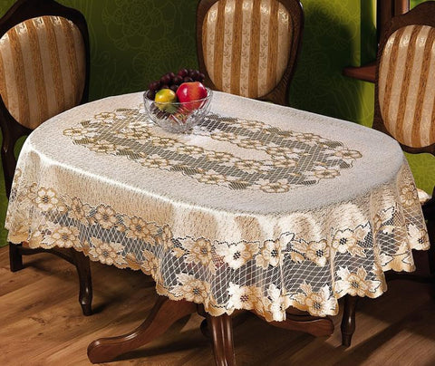 Gold Tablecloth Rectangle 120x160cm, Round 180cm