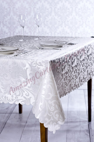 White Jacquard Tablecloth - 5 sizes - AmazingCurtains