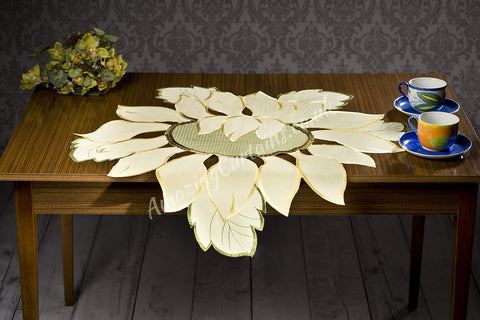 Yellow Tablecloth - Flower Pattern - AmazingCurtains