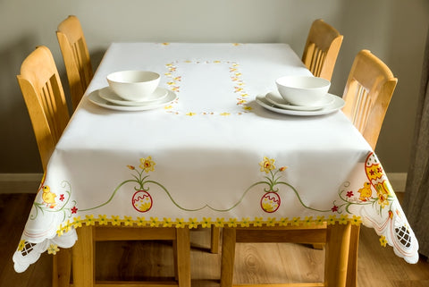 Large Ivory Easter Tablecloth - 130 x 180cm