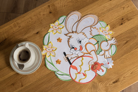 Easter Doily/Placemat wit Easter Bunny - 40cm - Amazing Curtains