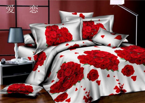 White 3D Bedding Set with Red Roses - Amazing Curtains