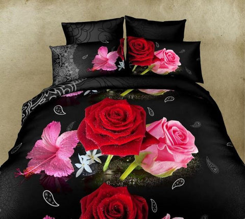 Luxury Black 3D Bedding Set with Roses - AmazingCurtains