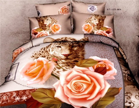 100% Cotton Bedding Set Panther & Roses - Amazing Curtains
