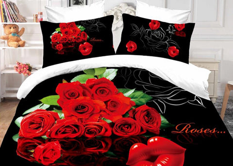 3D Bedding Set with Red Roses - Amazing Curtains