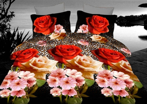 3D Bedding Set with Beautiful Flowers - Amazing Curtains