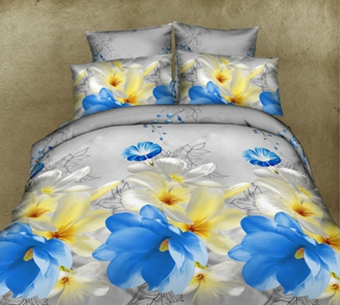 Charming 3D Bedding Set with Blue Yellow Flowers - AmazingCurtains