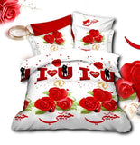White 3D Bedding Set I Love You Design - AmazingCurtains