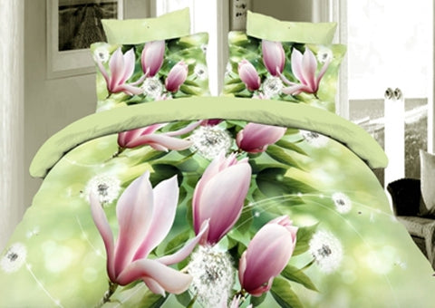 Beautiful Green 3D Bedding Set with Flowers - Amazing Curtains