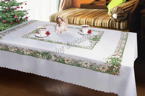 Large Christmas Tablecloth with Candles Pattern - White Green