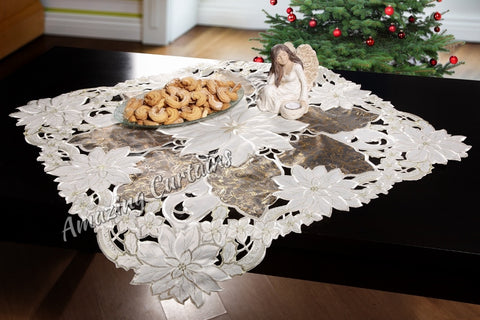 Square Christmas Tablecloth with Poinsettia - Cream