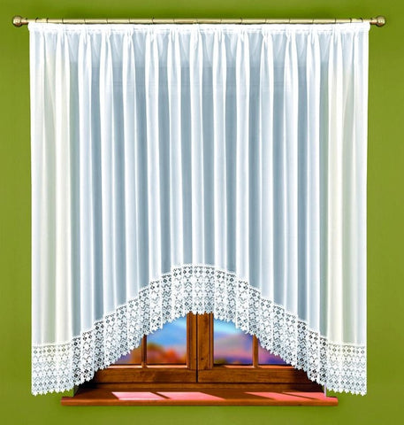 White Voile Net Curtain with Lace 300 x 160cm - Amazing Curtains
