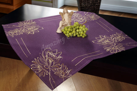 Purple Square Tablecloth - Linen Effect - Amazing Curtains