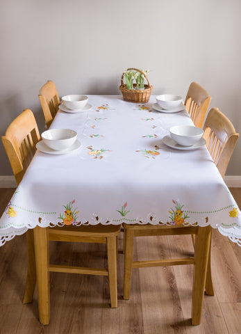 Large White Easter Tablecloths - 3 Sizes