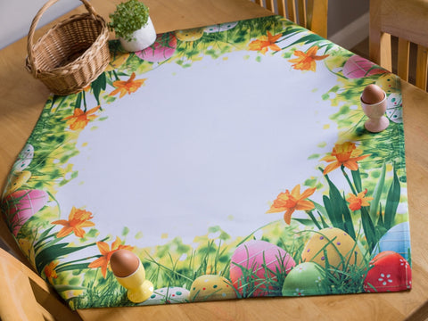 Square Easter Tablecloth with Egg Pattern