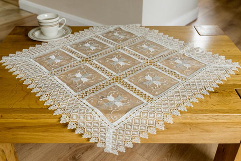 Square Tablecloth Organza Fabric with Lace - 85 x 85cm - Amazing Curtains