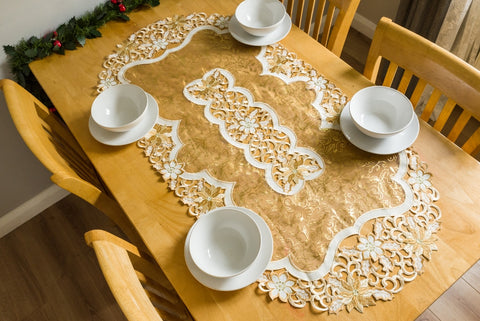 Gold Christmas Tablecloth - 3 Sizes