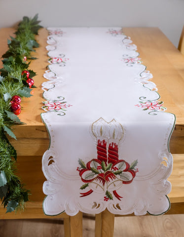 White Christmas Table Runner with Candles 40 x 200cm - Amazing Curtains