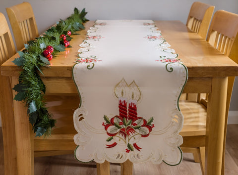 Ivory Christmas Table Runner with Candles 40 x 160cm