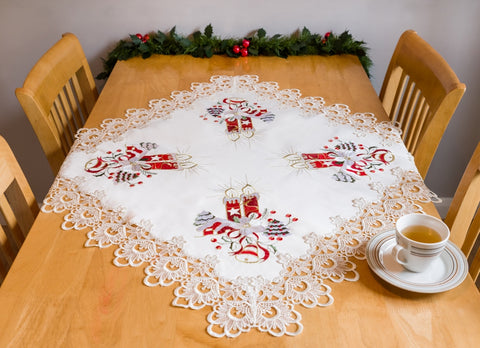 Amazing Square Christmas Tablecloth with Lace