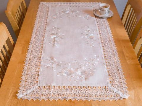 Ivory Tablecloth with Lace - 60 x 120cm