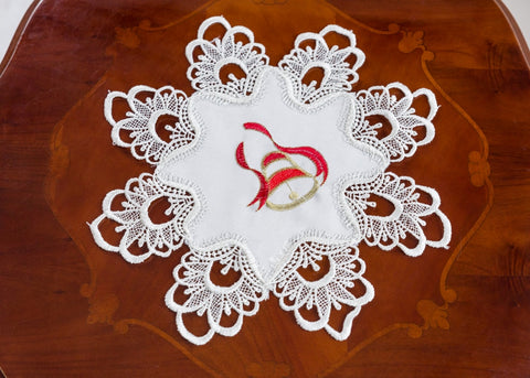 Ivory Christmas Doilies Lace - 30cm