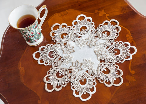 White/Beige Doilies Lace - 30cm - Amazing Curtains