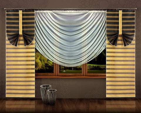 Modern Curtain Panels with Cream Net Curtain - Amazing Curtains