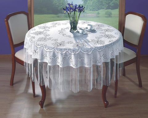 White Round Tablecloth with Long Strings