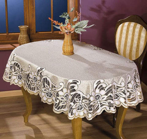 Cream Gold Tablecloth 60 x 120cm & 130 x 170cm - Amazing Curtains