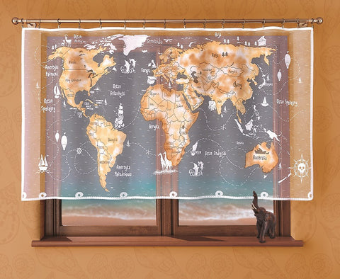 "Kids Net Curtain ""World Map"" - Amazing Curtains"