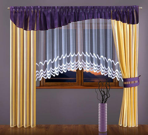Set of Amazing Curtains with Purple Pelmet & White Net Curtain - Amazing Curtains