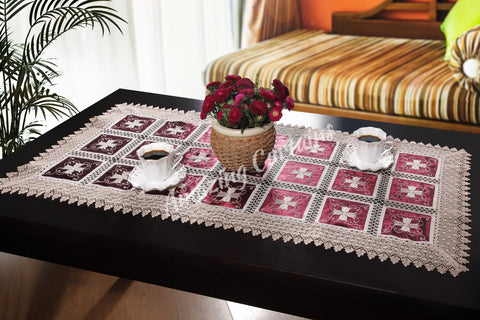 Marvelous Cream/Burgundy Tablecloth with Organza Fabric - Amazing Curtains