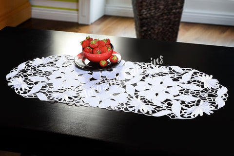 Small Table Runner - White 40 x 90cm - AmazingCurtains