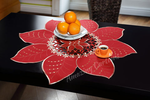 Red Tablecloth with Flower Pattern - AmazingCurtains