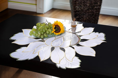 White Tablecloth - Flower Pattern - AmazingCurtains
