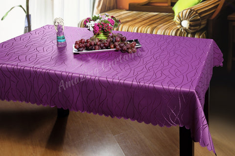 Purple Jacquard Tablecloth 110 x 160cm - Amazing Curtains