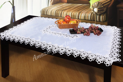 White Tablecloth with Lace 150 x 220cm - Amazing Curtains