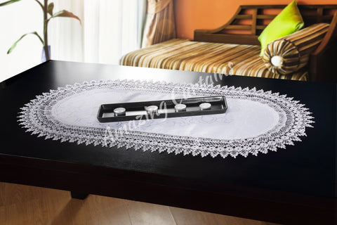 White Table Runner with Lace - 50 x 100cm - AmazingCurtains